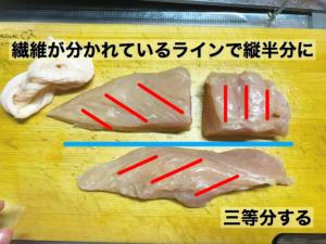 鶏むね肉を柔らかくする切り方